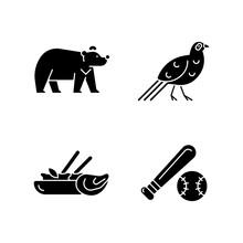 Taiwan National Endemic Black Glyph Icons Set On White Space. Formosan Black Bear. Mikado Pheasant Gamebird. Traditional Thai Cuisine. Baseball League. Silhouette Symbols. Vector Isolated Illustration