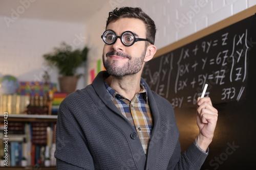 Fotografie, Obraz Math teacher with thick eyeglasses