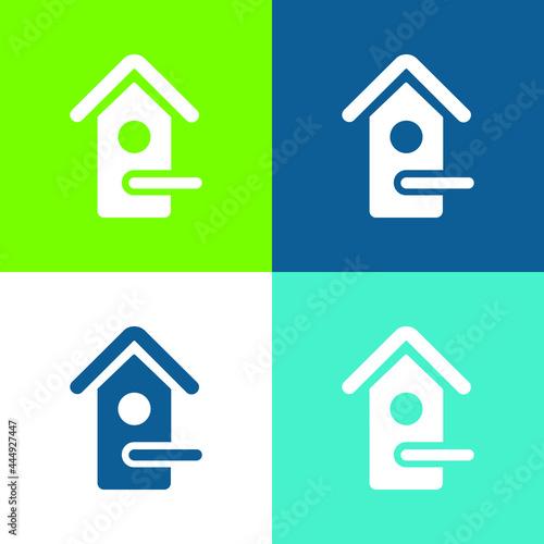 Bird House Flat four color minimal icon set Fototapete