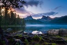 Russia Siberia Ergaki Lake Svetloe Sunset