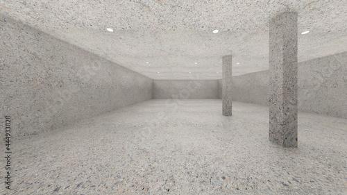 Fotografia vintage terrazzo concrete and Pillar round direct light simple 3d image 3