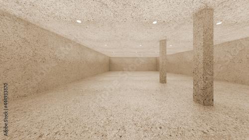 Fotografia vintage terrazzo concrete and Pillar round direct light simple 3d image 4