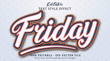 Editable Text Effect, Friday Text With Simple Color Combination Effect