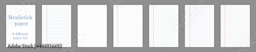Fotografiet Realistic square, lined paper blank sheets set isolated on transparent background