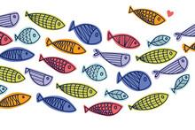 Cute Fish Wave. Vector Sea Poster.