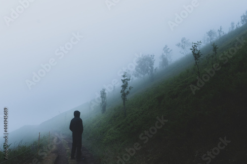 Stampa su Tela A moody lone hooded figure, back to camera standing on a path Looking at a foggy hillside on a moody atmospheric day