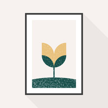 Minimal Geometric Composition. Geometrical Flower Tulip With Grunge Texture. Black Frame Hanging On The Wall. Vector Illustration, Flat Design