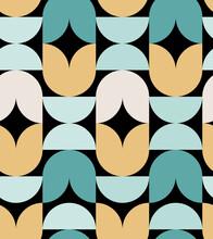 Minimal Geometric Pattern. Geometrical Flowers. Black Background. For Textile, Product Application. Vector Illustration, Flat Design