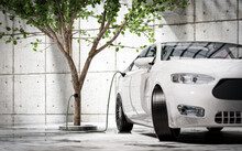 Charging An Electric Car With Green Energy - Concept. Electric Energy From Tree