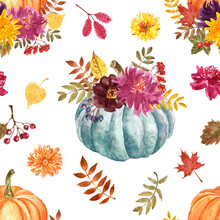 Autumn Pumpkin Arrangement Seamless Pattern. Watercolor Orange Pumpkins And Fall Flowers, Leaves And Berries On White Background. Thanksgiving Themed Print. Botanical Paper.