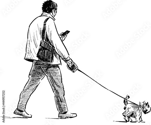 Fotografiet Sketch of casual towns man with lap dog walking outdoors and looking at phone