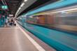 Fahrende U-Bahn mit Bewegungsunschärfe in Frankfurt am Main