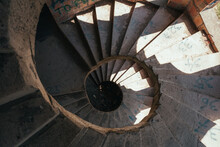 Top View Of A Long Twisting Staircase