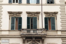 Rome White Building Facade Detail With Balcony And Green Shutters, Prati District