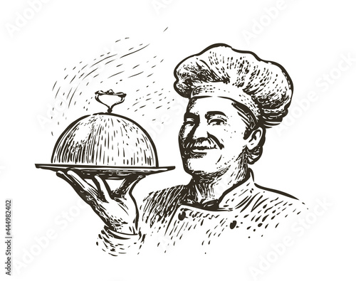 Fotografering Chef with a tray