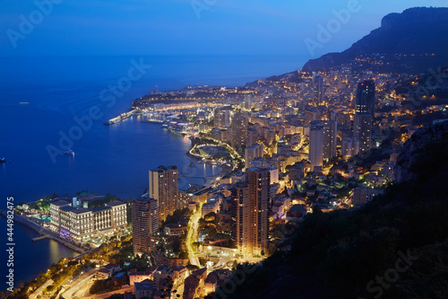 Montecarlo, illuminated city view in the evening, Monaco, Cote d'Azur фототапет