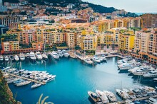 Monaco Fontvieille Cityscape Of French Riviera. Topview From Monaco Ville, Azure Water, Harbor, Luxury Apartments, Yachts. Port Fontvieille.