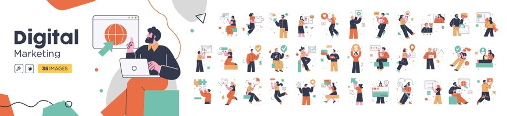 Fototapeta na wymiar Social Media Marketing illustrations. Mega set. Collection of scenes with men and women taking part in business activities. Trendy vector style
