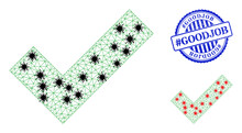 Mesh Polygonal Apply Tick Symbols Illustration With Lockdown Style, And Grunge Blue Round #Goodjob Stamp Seal. Abstraction Is Created From Apply Tick Icon With Black And Red Coronavirus Centers.