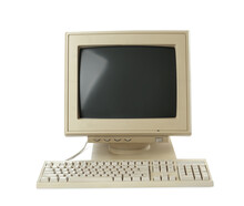 Old Computer Monitor And Keyboard On White Background