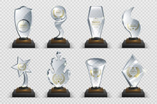 Transparent Trophies. Realistic Crystal Glass Awards With Text, Isolated Competition Cups Stars And Prizes. Vector Isolated Set