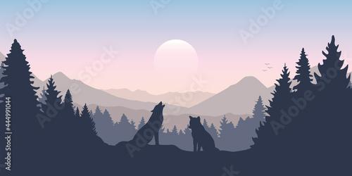 Obraz na plátně wolf pack in forest with mountain landscape