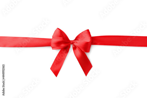 Tableau sur Toile Red bow and ribbon on white background, top view