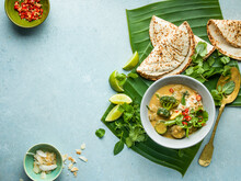 Vegetable Curry And Coconut Roti
