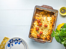 Ricotta Lasagne In A Pan With Copy Space