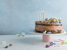 Flourless Chocolate Cake With Candles And Copy Space