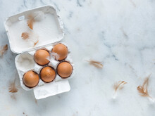 Eggs, Carton, Feathers, Marble Background