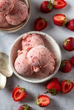 Strawberry Ice Cream With Fresh Strawberries