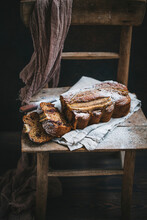 Banana Bread Dusted With Powdered Sugar