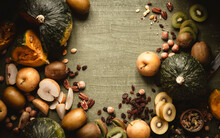 Fall Fruit And Vegetables With Copy Space