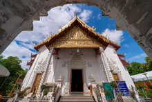White Marble Public Ancient Temple Inside Arch Entrance Wat Phra That Cho Hae, The Royal Sacred Ancient Temple In Phrae Province, Thailand