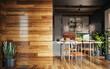 Leinwandbild Motiv Modern dark home interior background, wall mock up, 3d render