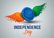 Happy Independence Day India. 3d Ashoka Chakra With Indian Flag. Vector Illustration Design