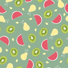 Watermelon Lemon Citrus Kiwi Vector Fun Pattern. Fruits On Green Background