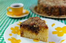 Brazilian Gastronomy. Slice Of Homemade Banana Cake.