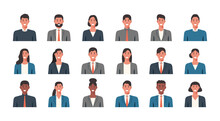 People Portraits Of Businessmen And Businesswomen, Male And Female Face Avatars Isolated Icons Set, Vector Flat Illustration