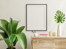 Mockup Photo Frame On The Wooden Cabinet With Beautiful Plants.