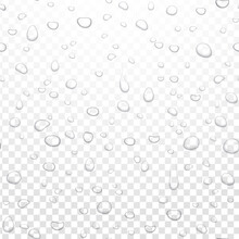 Realistic Vector Water Rain Drops On Alpha Transparent Background. Condensed Pure Droplets. Vector Clear Water Bubbles On Window Glass.