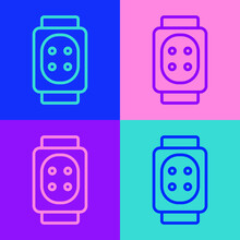 Pop Art Line Knee Pads Icon Isolated On Color Background. Extreme Sport. Skateboarding, Bicycle, Roller Skating Protective Gear. Vector