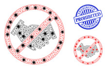 Mesh Polygonal Forbidden Handshake Symbols Illustration In Outbreak Style, And Textured Blue Round Prohibited Stamp Seal.
