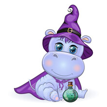 Cartoon Hippo With A Potion In A Purple Witch Hat And Cloak On The Background Of A Castle, Pumpkin, Moon. Halloween Poster