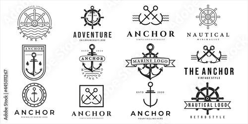 set of nautical or marine logo vector illustration template icon design Fotobehang