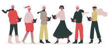 Christmas Carol Choir. Male And Female Christmas Singing Characters, Xmas Street Carol Singers Cartoon Vector Illustration. Holiday Christmas Choir