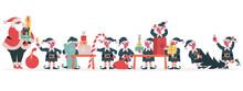 Christmas Elves Factory. Santa Claus And Elves Pack Holiday Gifts, Santa Helpers Making Xmas Presents Vector Illustration. Santa Claus Elves Workshop