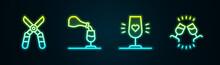 Set Line Gardening Scissors, Wine Tasting, Degustation, Glass And . Glowing Neon Icon. Vector