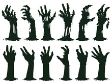 Zombie Hands Silhouette. Creepy Zombie Crooked Lambs Stick Out Of Graveyard Ground Vector Illustration Set. Halloween Zombie Hands